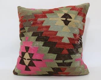 24x24 Geometric Kilim Pillow Sofa Pillow Multi Color Kilim Pillow 24x24 Aztec Kilim Pillow Throw Pillow Cushion Cover  SP6060-1293