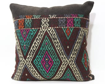 24x24 Anatolian Kilim Pillow Sofa Pillow Throw Pillow 24x24 Decorative Kilim Pillow Handwoven Kilim Pillow Cushion Cover SP6060-1242