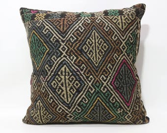 Patterned Kilim Pillow Embroidered Kilim Pillow Throw Pillow 24x24 Anatolian Kilim Pillow Sofa Pillow Ethnic Pillow Cushions SP6060-1271