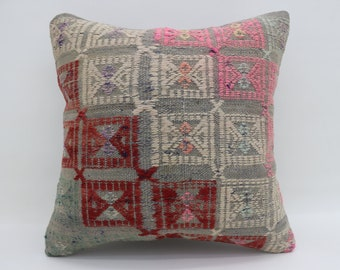 20x20 Kilim Pillows Geometric Pillows Pink Pillows Gray Sham Turkish Pillows Big Throw Pillows Large Cushion Cover Kilim Pillows SP5050-2601
