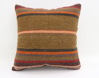 Brown Kilim Pillow  20x20 Boho Cushion Cover Pillow 50x50cm Large Turkish Kilim Pillow Bed Pillow Striped Pillow Throw Pillow SP5050-2679