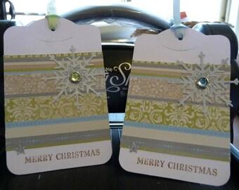 2 Handmade Christmas Gift Tag pack, gift tag, christmas tag, swing tag, handmade gift tag, xmas tag