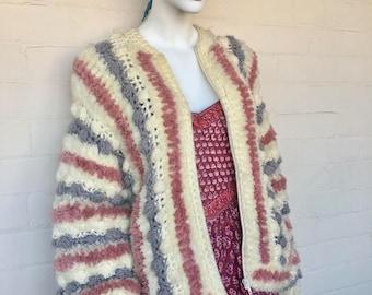 Vintage 70s 80s Chunky Zip Bomber Sweater//Zip Knit Bomber Jacket//Oversized Fluffy Knit Cardigan