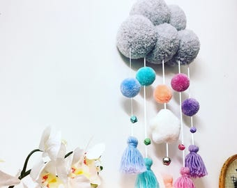 Starry cloud pompom wall hanging, twinkle twinkle little star, pastel childrens decor, cloud mobile, nursery wall hanging, twinkle star art
