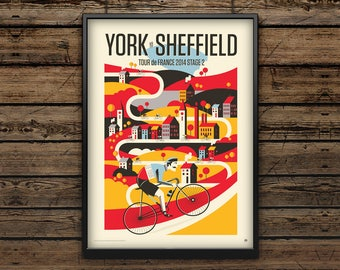 Cycling Art Print A3 / Tour de France Stage 2 York to Sheffield