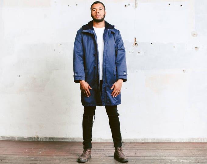 Hooded Winter Coat . Men's Vintage Blue 70s Coat Faux Fur Lined Long Winter Jacket Autumn Coat Outerwear Military Army Jacket . size Medium