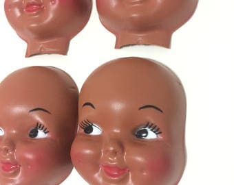 Vintage Lot of 4 Larger Doll Faces