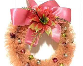 """Vintage 8"""" Pink Bottle Brush Wreath"""