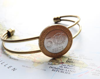 Dominican Republic coin cuff bracelet - 2 different designs - made of original coins - island - peso - wanderlust gift - travel