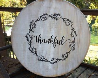 "Thankful,Lazy Susan,18"" Decorative round wood,Farmhouse decor,Shabby chic turntable,kitchen decor,rustic turntable"