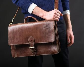 "Dark Brown Leather Satchel Laptop Bag with Strap ""The Casablanca"" Handmade Moroccan"