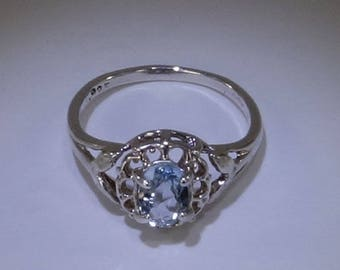 Aquamarine and Sterling Silver Ring MR1700