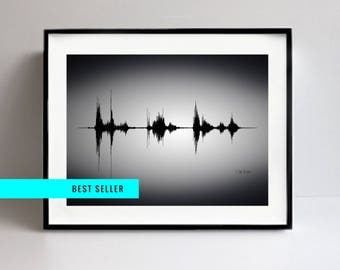 Custom SoundWave Art on Canvas, Sound Wave Art Print, Custom Soundwave, Voice Art, Song Art, Sound Art, Techie, Tech Gift, Engineer Gifts