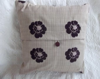 Beige and Purple Cushion Cover