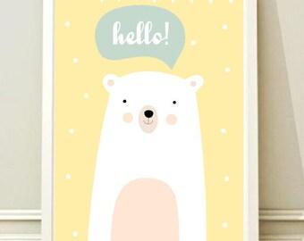 Nursery Wall Art Print, Kids Art Print, Animal Nursery Print, Modern Nursery Decor, Bear poster, Kids room Printable, Instant download