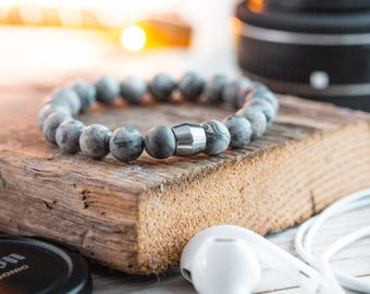 8mm - Light gray picasso stone beaded stretchy bracelet with stainless steel end bead, gray bracelet, mens bracelet, mens beaded bracelet