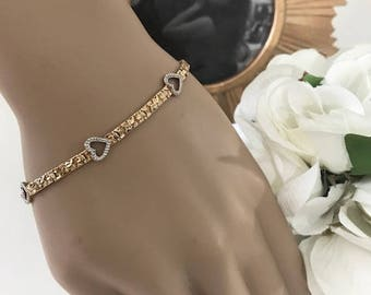 Beautiful Women's Bracelet,  10 K Gold Bracelet, White and Yellow Gold with 5 hearts around The Bracelet, Estate Jewelry, Mother's Gift