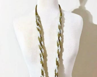 Vintage Elegant Long White and Gold Necklace Made of Beads and Rhinestones  Rhinestones