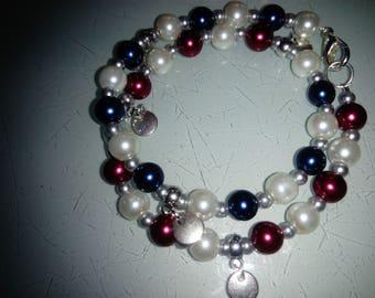 Double red white Blue Bead Bracelet