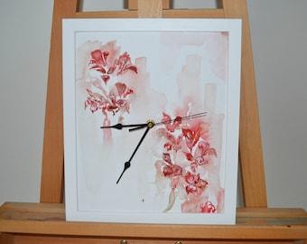 Pink Floral Handmade Clock