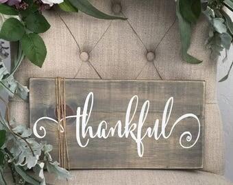 Fall Rustic Sign - Thankful
