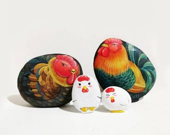 Chicken Family Stone painting, Acrylic colour, Unique.