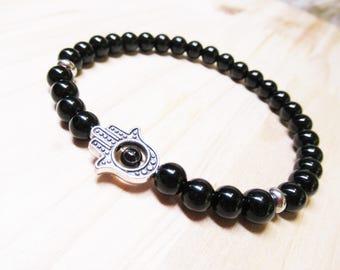 Hamsa Bracelet Mens Bracelet Black Onyx Bracelet Energy Bracelet Healing Bracelet Spiritual Bracelet Protection Bracelet Beaded Bracelet