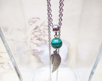 Malachite Necklace Angel Necklace Malachite Jewelry Minimalist Necklace Angel Wing Necklace 10mm Malachite Archangel Raphael Necklace
