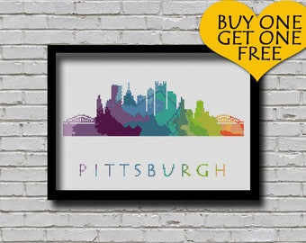 Cross Stitch Pattern Pittsburgh Pennsylvania Silhouette Watercolor Effect Decor Embroidery Modern Ornament Usa City Skyline Xstitch