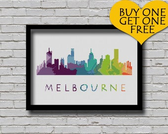 Cross Stitch Pattern Melbourne Australia City Silhouette Rainbow Watercolor Effect Modern Decor Embroidery City Skyline Xstitch