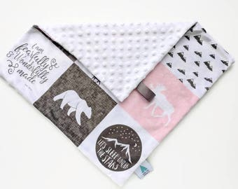 Mini blanket - Pink Plaid Lovey - Baby Lovey - Security Blanket - Minky Lovey - Snuggle Blanket - Baby Shower Gift - Woodland Nursery