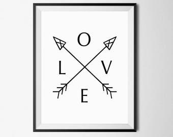 Love Wall Art, Love Print, Arrow Love Print, Love Arrow Art, Love Arrow Print, Love Art, Arrow Wall Art, Love Printable, Arrow Wall Print