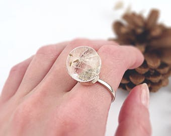 Real Dandelion ring, Dandelion globe, Spiritual ring, Alternative engagement ring, Wish ring, Dandelion in resin,Botanical ring,Gift for her