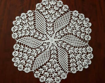 "New 14"" white handmade crochet doily / Lace doily / Table center decoration"