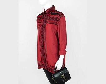 Aztec vibes-Crimson blouse black patterned