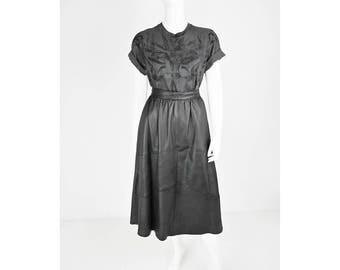 Vintage leather plate skirt in black