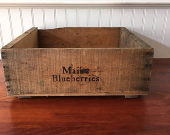 Blueberry Crate Wooden Fruit Crate Blueberry Crate Wood Box Wood Crate Orchard Vintage Crate Wooden Crate  Stock Number 115 Crate Farmhouse