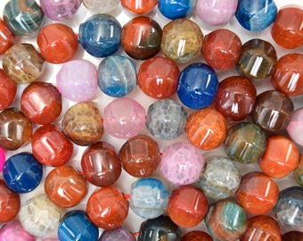 "11mm multicolor agate pumpkin beads 15.5"" strand 38334"