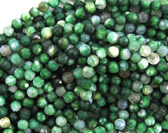 "4mm faceted agate round beads 15"" strand green 30071"