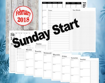 Pocket - February, Dutch Door Travelers Notebook Printable Inserts, day on 1 page, Sunday Start