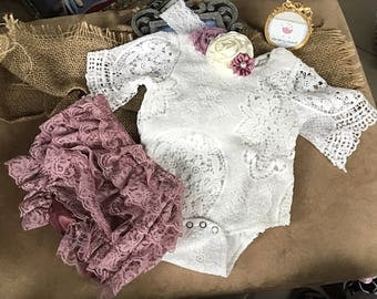 3 sizes! Boho baby, Lace onesie, boho, lace shorts, floral lace headband, beautiful 0-3, 3-6, 6-12 month lace onesie, free gift wrap