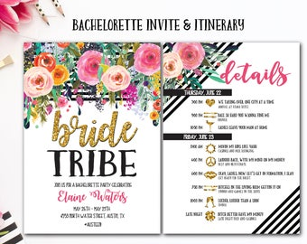 Bachelorette Party Invite and Itinerary, Bachelorette Party, Bride Tribe bachelorette party, Boho bachelorette party, Printable invitation
