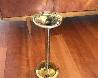 Vintage standing ashtray / brass  / retro / space age / mid century