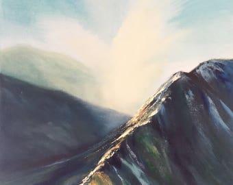 "Angels Mounts, Original Oil Painting on Canvas, 24x18"", Mountain Landscape, Nature Paintings"