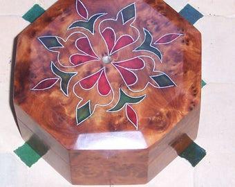 Oriental wood casket box chest storage box jewelry Thuja La...