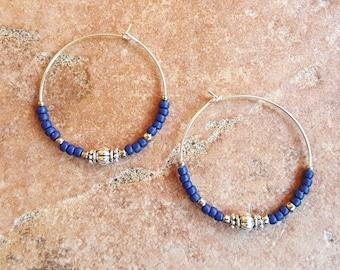 """Beaded Navy Blue and Silver Hoop Earrings, Large 1 3/8"""" Diameter in Navy"""