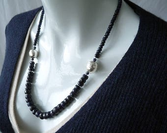 Blue faceted sapphire necklace - 925 sterling silver Karen Hill Tribe - GemChristina SA4163