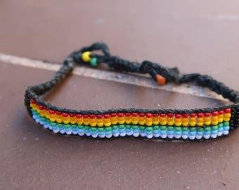 Hemp Cord Rainbow Glass Bead Bracelet, Adjustable
