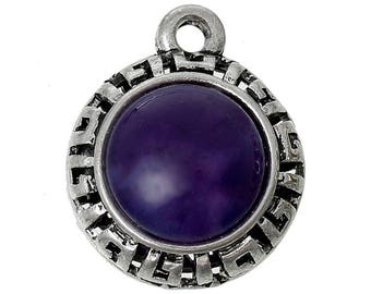 1 round cabochon grown old silver plum resin pendant, 22x18cm