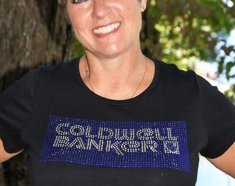 Real Estate Coldwell Banker Realtor  rhinestone  bling  shirt,  all sizes XS, S, M, L, XL, XXL, 1X, 2X, 3X, 4X, 5X